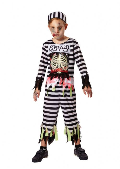 Childrens Skeleton Prisoner Costume Day of the Dead Halloween Fancy Dress Outfit